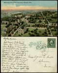 Postcard, Front and Back, of a Bird's Eye View of The College of Wooster Campus addressed to Agnes E. Scott