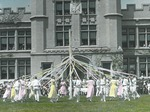 Color Day Maypole in front of Kauke Hall
