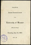 Thirty-Fourth Annual Commencement University of Wooster