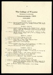 The College of Wooster Program of Exercises Commencement
