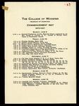 Schedule of Events 1927