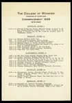 The College of Wooster Program of Exercises Commencement 1929