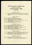 The College of Wooster Program of Exercises Commencement 1930