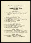 Schedule of Events 1930