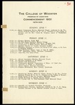 The College of Wooster Program of Exercises Commencement 1931