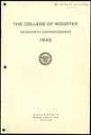 The College of Wooster Seventieth Commencement 1940