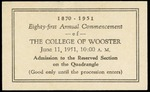 Admission Ticket Commencement 1951 The College of Wooster