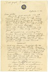 Letter from Mary to Parents- September 5, 1924