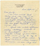Letter from Mary to Family- September 27, 1925