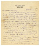 Letter from Mary to Family- April 18 circa 1926