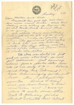 Letter from Mary to Mother and Dad - Sunday 3:30 circa 1926