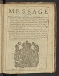 A Message from the Royall Prisoner at Windsor, to the Kingdome of Scotland; And His Majesties Resolution, Concerning the Ordnance and Impeachment of High Treason ... Dated from Windsor the 3. of January, 1648