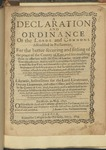 A Declaration and Ordinance of the Lords and Commons Assembled in Parliament, for the Better Securing and Setling of the Peace of the County of Kent, and for Enabling Them to Associate with the City of London, or Any Other Counties Adjacent. and to Raise Forces Within the Said County ... Likewise, Instructions for the Lord-Lieutenant, Deputy-Lieutenants, and Other Offiers, and Commanders in the County of Kent