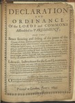 A Declaration and Ordinance of the Lords and Commons Assembled in Parliament, for the Better Securing and Setling of the Peace of the County of Kent, and for Enabling Them to Associate with the City of London, or Any Other Counties Adjacent. and to Raise Forces Within the Said County ... Likewise, Instructions for the Lord-Lieutenant, Deputy-Lieutenants, and Other Officers, and Commanders in the County of Kent by Great Britain