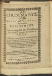 An Ordinance of the Lords and Commons in Parliament. Concerning the Late Rebellious Insurrection in the County of Kent. Vvherby a Committee Is Appointed for the Said County